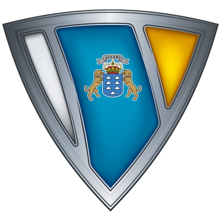 Steel shield with flag Canary Islands  Vector