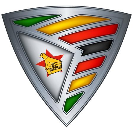 zimbabwe: Acero escudo con la bandera de Zimbabwe