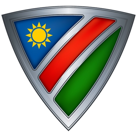 Steel shield with flag Namibia Vector