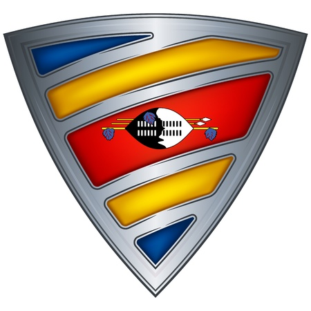 swaziland: Steel shield with flag Swaziland