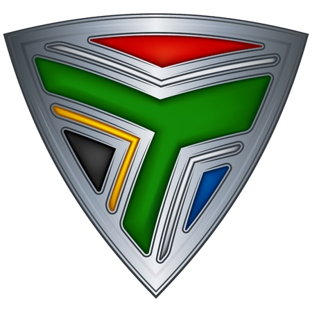 Steel shield with flag South Africa  Vector
