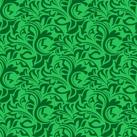 green leafs: Green seamless wallpaper pattern  Illustration