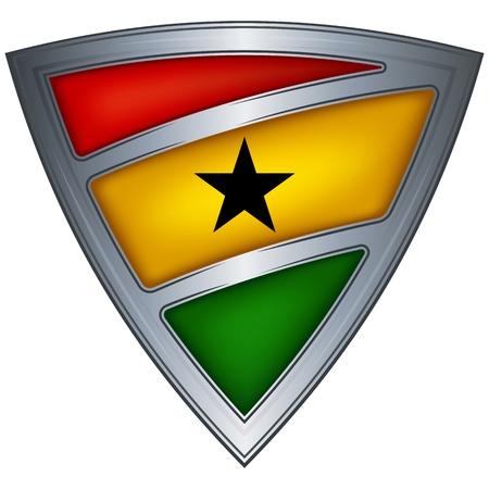 ghana: Steel shield with flag Ghana