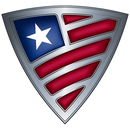 liberia: Steel shield with flag Liberia