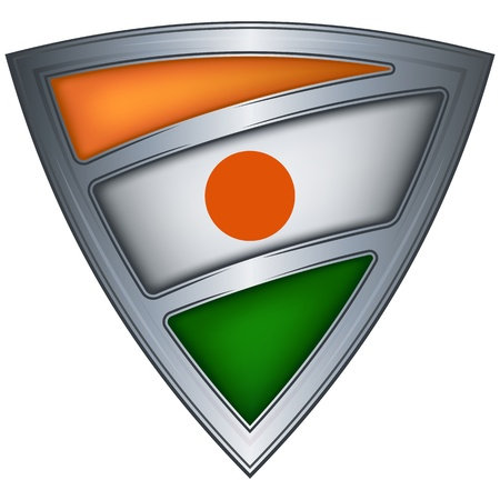 niger: Steel shield with flag Niger