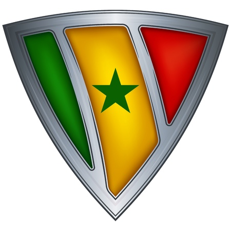 Steel shield with flag Senegal  Vector