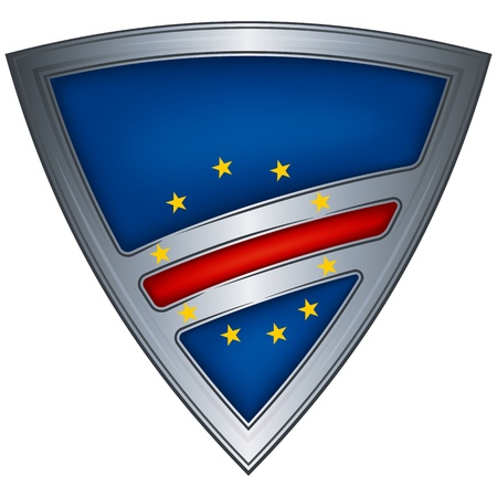 cape verde: Steel shield with flag Cape Verde