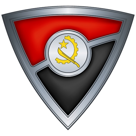 Steel shield with flag Angola  Illustration