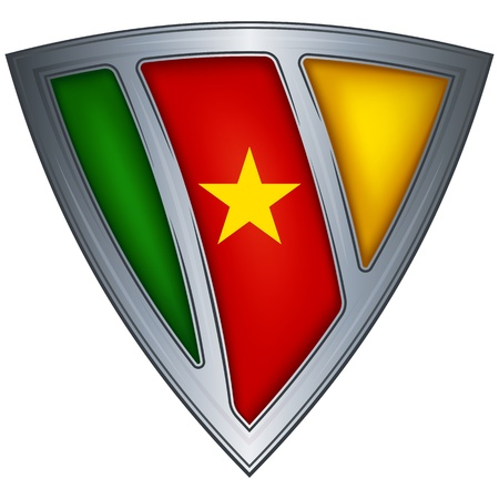 cameroon: Steel shield with flag Cameroon