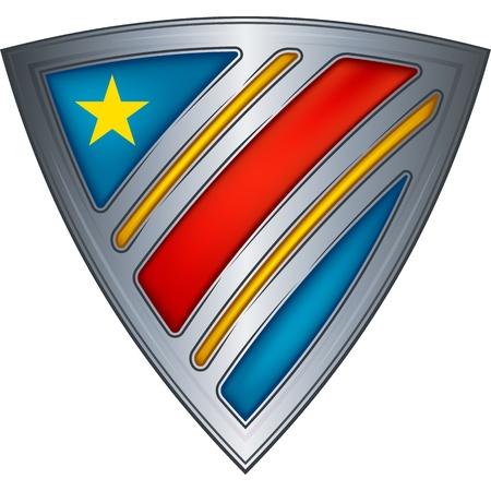 democratic republic of the congo: Steel shield with flag Democratic Republic of the Congo  Illustration