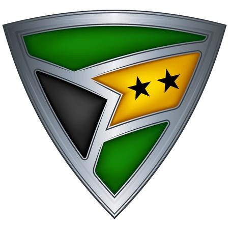 shiny shield: Steel shield with flag Sao Tome and Principe