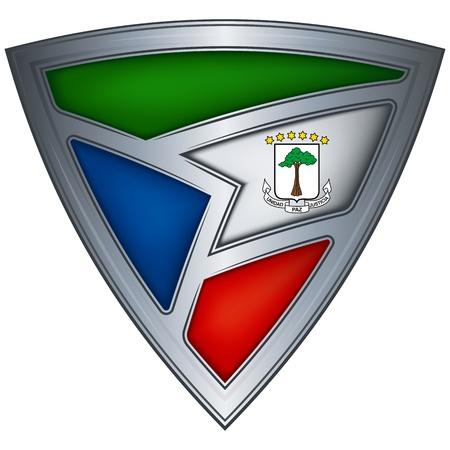 Acero escudo con la bandera de Guinea Ecuatorial