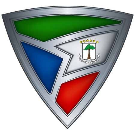 guinea: Steel shield with flag Equatorial Guinea