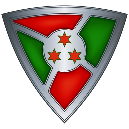 burundi: Steel shield with flag Burundi