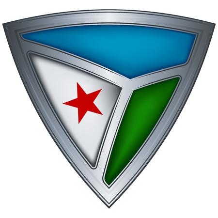 Steel shield with flag Djibouti