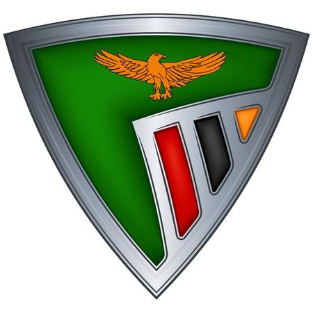 zambia: Steel shield with flag Zambia Illustration