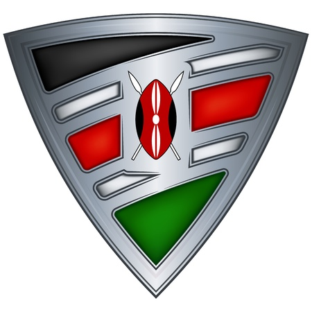 kenya: Steel shield with flag Kenya