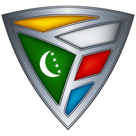 comoros: Steel shield with flag Comoros  Illustration