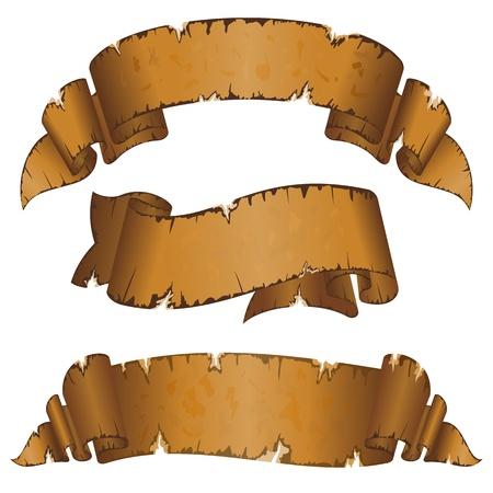 pergamino: Colecci�n de diferentes cintas viejas sucias con borde irregular Vectores