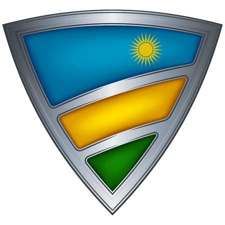 Steel shield with flag Rwanda Stock Vector - 11936159