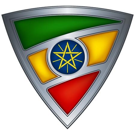 ethiopia flag: Steel shield with flag Ethiopia  Illustration