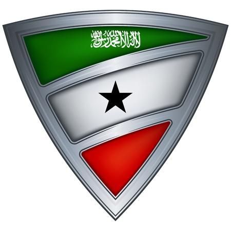 somaliland: Steel shield with flag Somaliland