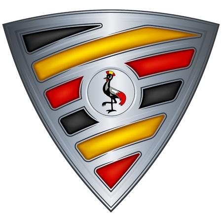 uganda: Steel shield with flag Uganda  Illustration