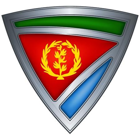eritrea: Steel shield with flag Eritrea  Illustration