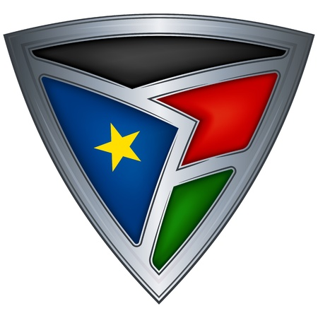 Steel shield with flag South Sudan  Vector