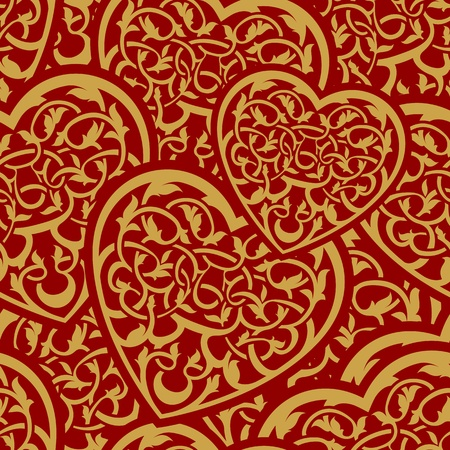 Valentine day gold seamless wallpaper pattern with heart  Vector