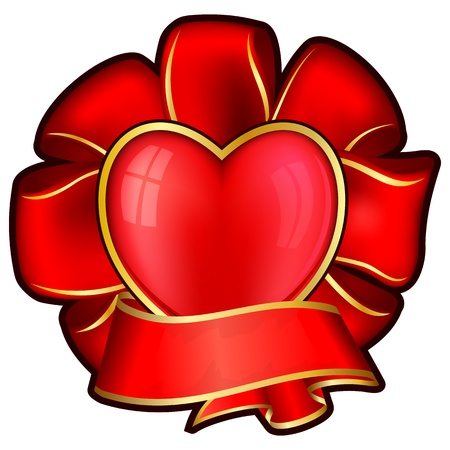 Red bow with heart and ribbon for valentine day  Vector