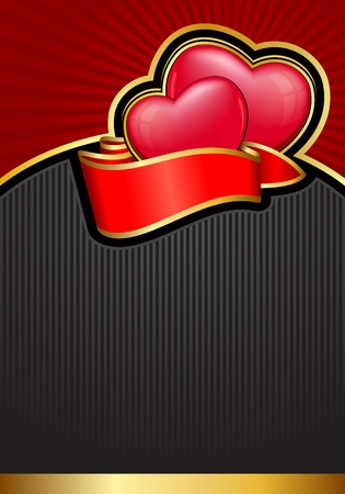 excellent: Valentine`s Day background with hearts and ribbon