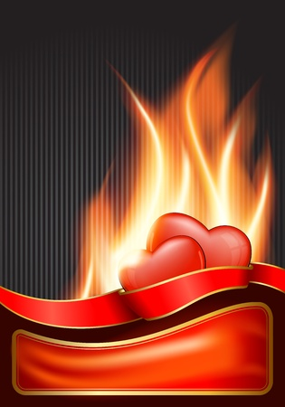 burning heart: Valentine`s Day background with burning heart .