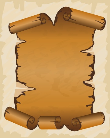Old dirty manuscript with scroll ragged edges Vector