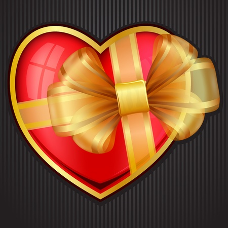 Valentine`s Day heart with transparent gold bow.  Vector