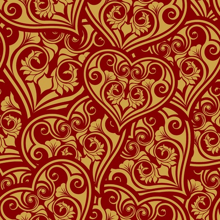 Valentine day gold seamless wallpaper pattern with heart Illustration