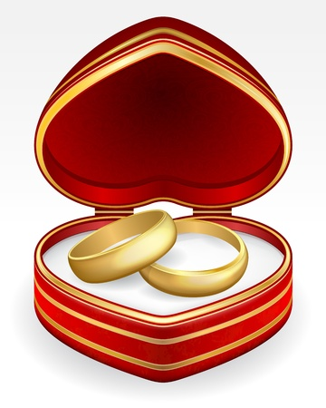 Gold wedding rings with heart shaped box.  Vector