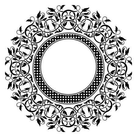 round: Black frame with ornamental border Illustration
