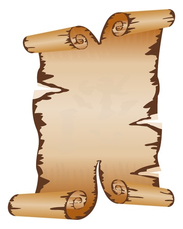 Old dirty manuscript with scroll ragged edges Stock Vector - 12364985