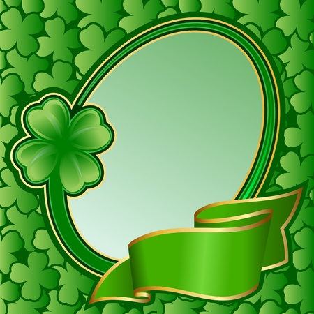 saint patrick: Circle frame with ribbon on St. Patrick