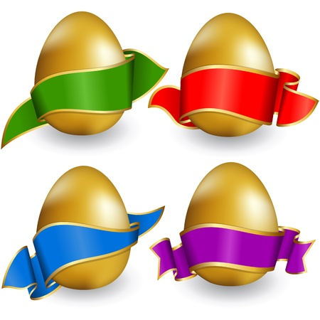 Collection easter egg with ribbon of different color Vector