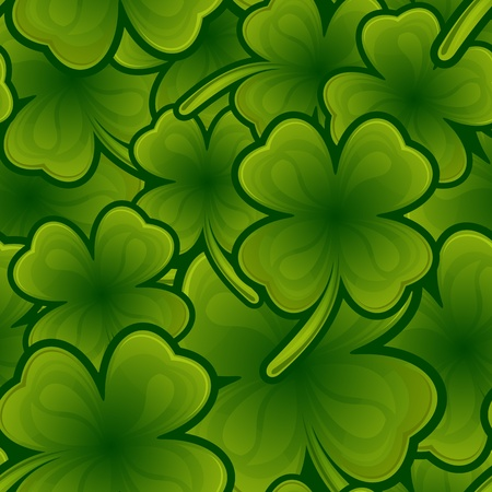 four leaf clovers: Seamless pattern from shamrock for St. Patrick