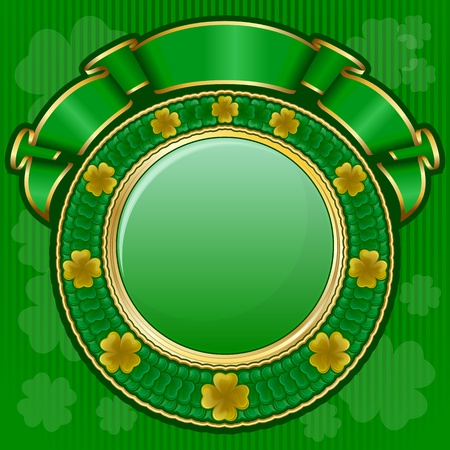 clover banner: Circle frame from shamrock with ribbon for St. Patrick