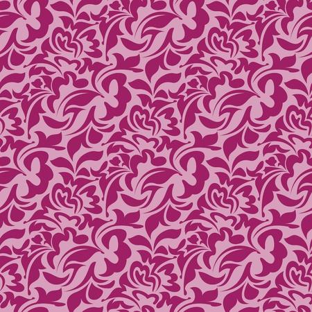seamless damask: Patr�n de papel tapiz rojo transparente