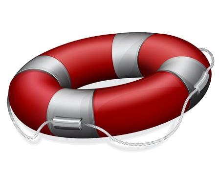 life buoy: Vector illustration of marines red life buoy