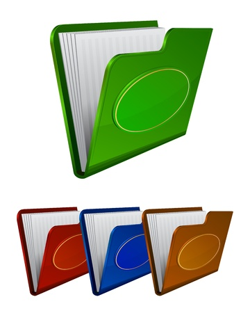 Set vector folder icon with oval label isolated on white Stock Vector - 12364999