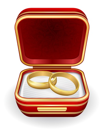 matrimony: Gold wedding rings in red box.