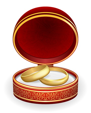 nuptials: Gold wedding rings in red box.