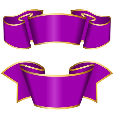 Purple ribbon collection Stock Vector - 12495332