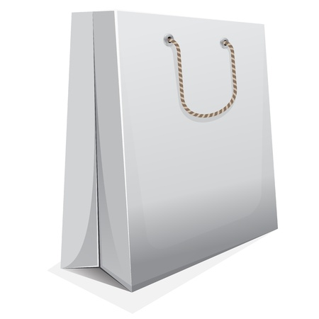 carry bag: white blank shopping bag with brown handle